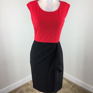 Calvin klein XS 2 Red Black Dress Sheath Sleeveles